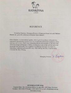 референция към Марио Бакалов от KATARZYNA