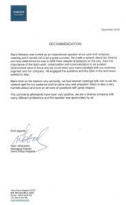 Препоръка за Марио Бакалов от Volvo Group Bulgaria
