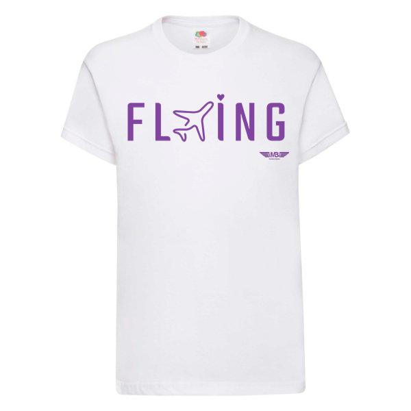 Детска тениска бяла Flying