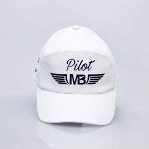 Пилотска шапка Pilot бяла - поглед отпред