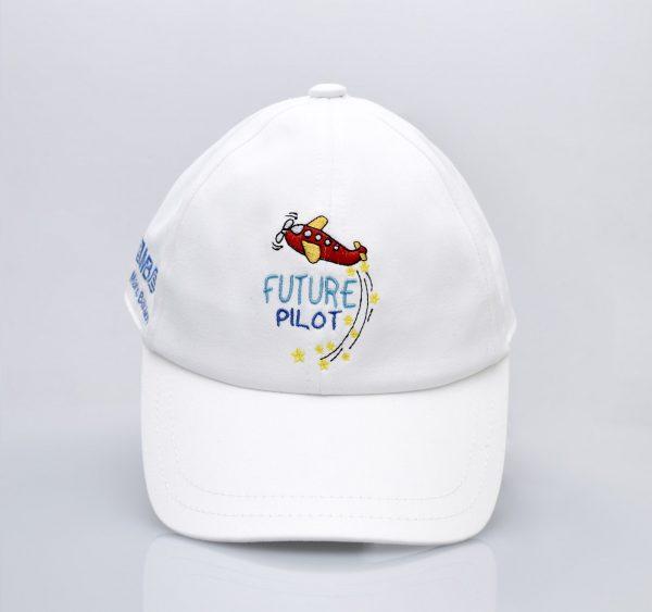 Детска пилотска шапка Future pilot бяла - поглед отпред