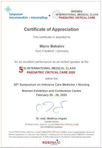 Сертификат на Марио Бакалов - 5th International Medical Class