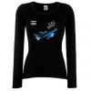 Дамска тениска с дълъг ръкав черна Flight mode