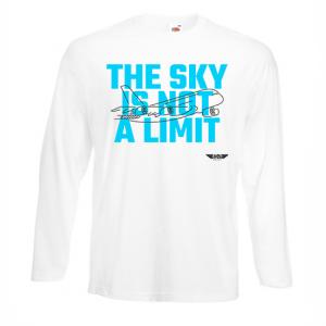 Мъжка тениска с дълъг ръкав бяла Sky lover