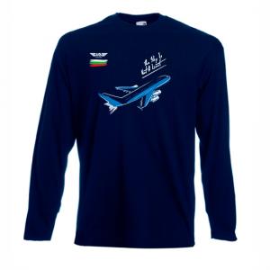 Мъжка тениска с дълъг ръкав тъмносиня Flight mode